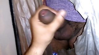 Big uncut Mexican cock shoots nice load through my gloryhole.
