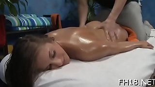 Babe with a consummate irritant fucked by massage therapist