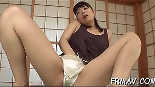 Horny asian toys own wet crack while giving juicy blowjob