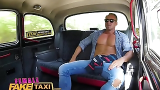Female Fake Taxi Marketable slim blonde driver in sweaty taxi backseat fuck
